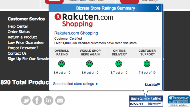 Example of The Bizrate Customer Certified Medal prominently displayed in the footer of Rakuten.com.