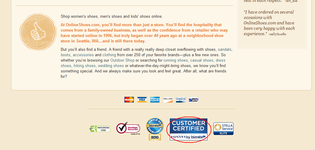 The Bizrate Customer Certified Medal in the footer of Onlineshoes.com