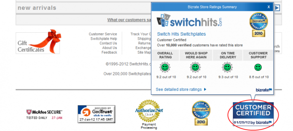 The Bizrate Customer Certified Medal in the sidebar of Switchhits.com