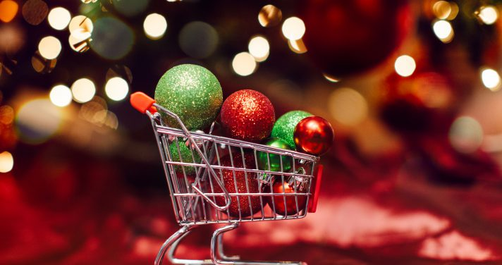 Shopping cart holiday ornament