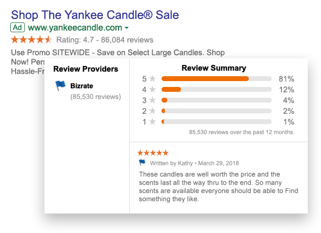example of reviews in a google search