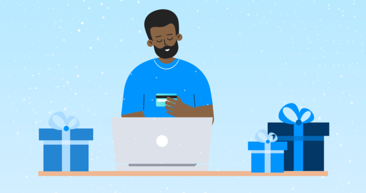 illustration person on laptop with gifts