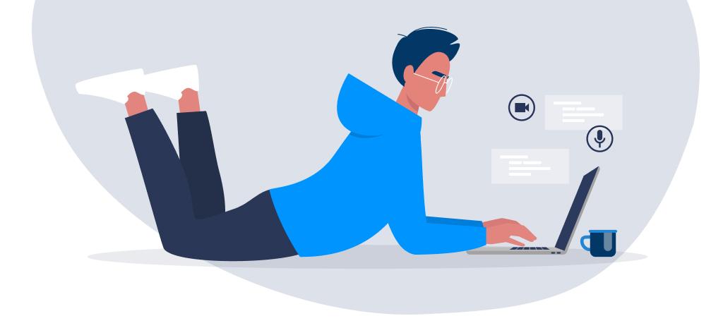 illustrated man on laptop